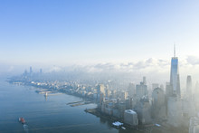 New York City With WTC In Early Morning, Aerial Photography