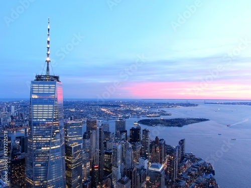 New York City Skyline and WTC with East River in sunset, aerial photography Canvas Print