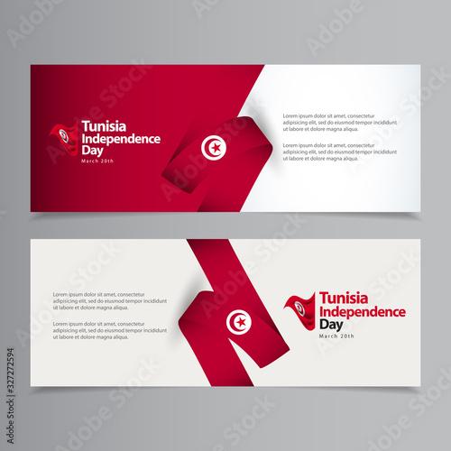 Vászonkép Happy Tunisia Independence Day Celebration Vector Template Design Illustration