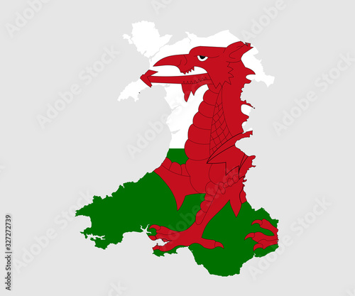 Fotomural Map and flag of Wales