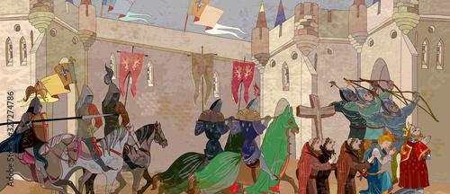 Fototapeta Medieval battle scene