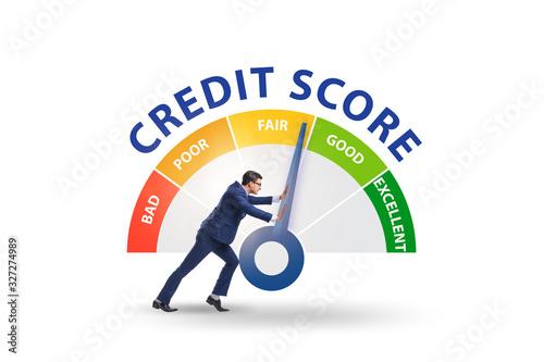 Obraz na płótnie Businessman trying to improve credit score