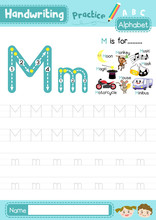 Letter M Uppercase And Lowercase Tracing Practice Worksheet A4