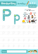 Letter P Uppercase And Lowercase Tracing Practice Worksheet A4
