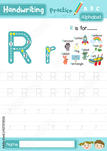 Photo Letter R uppercase and lowercase tracing practice worksheet A4