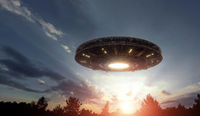 UFO, An Alien Plate Hovering O...