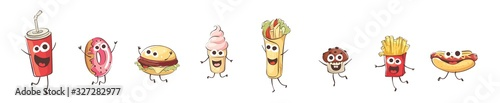 Funny cartoon fast food. Set vector illustrations with different comic product.