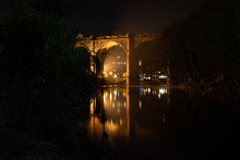 Knaresborough Yorkshire England Viaduct Winter Night Reflection