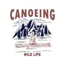 Canoeing. Illustration Of Wild...