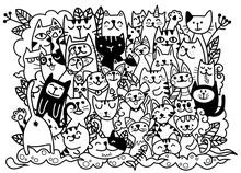 Doodle Cats Faces Colorful Bac...