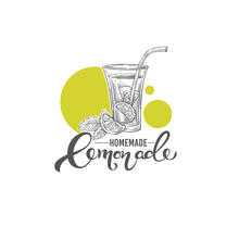 Homemade Lemonade, Vector Hand Drawn Illustration With Calligraphy Lettering Composition For Your Logo