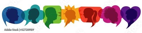 Fototapeta Speech bubble.Multicultural kindergarten.Silhouette group of modern children in rainbow colored profile.Communication between multi-ethnic children.Children talking.Globalization obraz