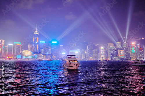 Valokuva Nightscape and Skyline of Urban Architecture in Hong Kong.