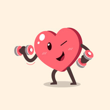 Vector Cartoon Heart Character Doing Weight Training For Design.