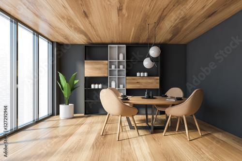 Fototapeta Panoramic gray dining room with cupboard obraz