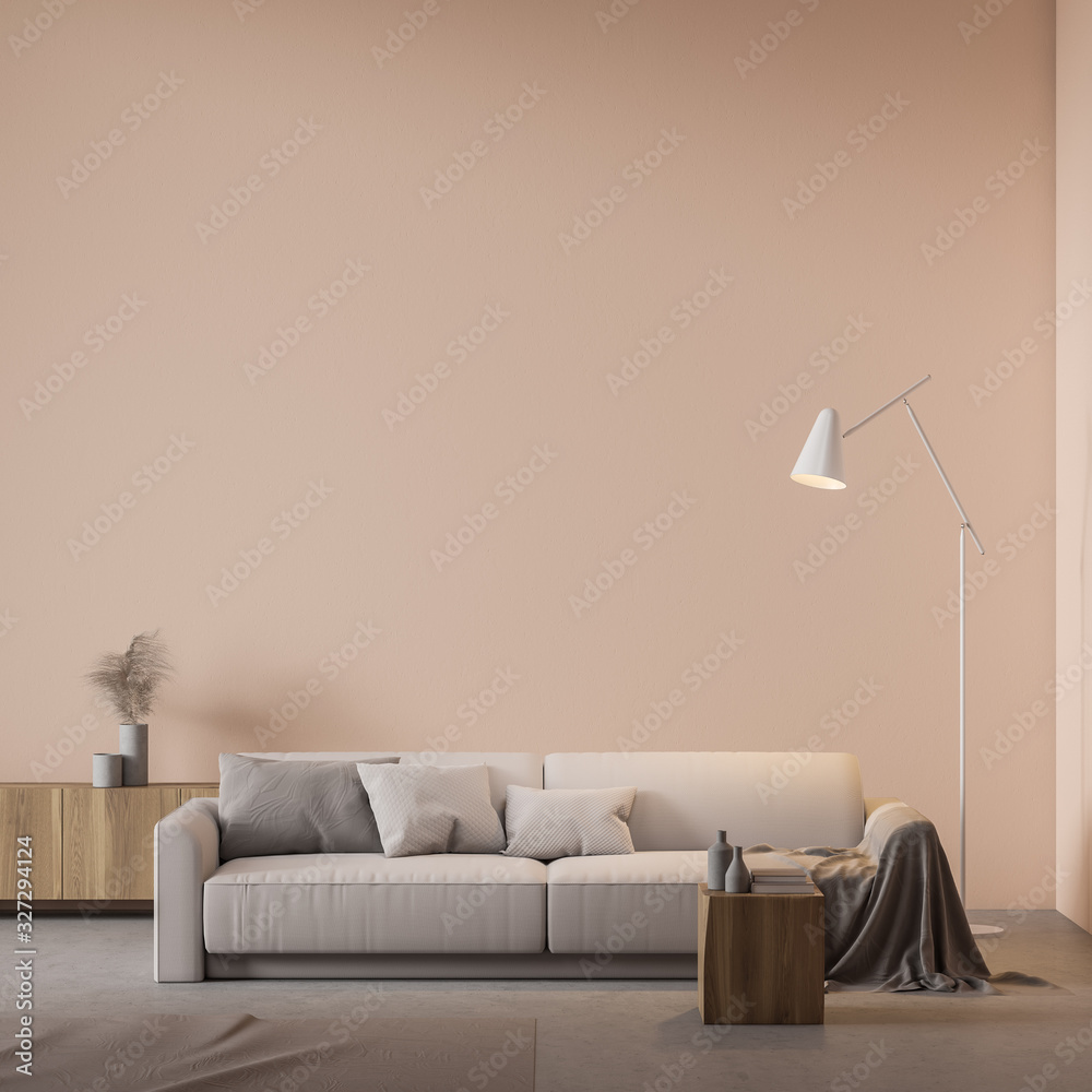 Fototapeta Beige living room interior with sofa