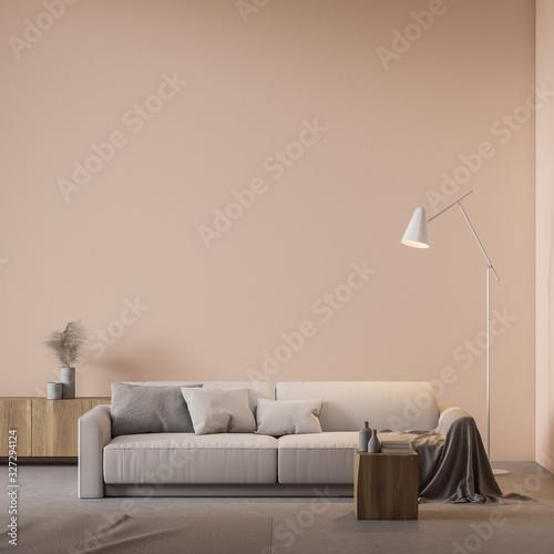 Obraz Beige living room interior with sofa - fototapety do salonu