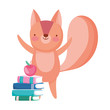 back to school, squirrel books and apple cartoon