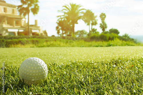 Fotografie, Obraz Golf club and golf ball in grass in sunrise.