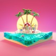 canvas print picture - Tropical island sea, sunset deck chairs under umbrella on a beach. Travel concept 3d low poly illustration.