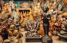 Ganesh Statue, Buddha And Many Others Figurines For Sale In Store Of The Amulet Market