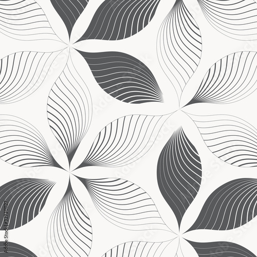 Leinwand Poster Vector pattern, repeating abstract petals of flower on hexagon shape