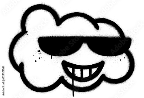 Obraz graffiti cool cloud character sprayed in black over white - fototapety do salonu