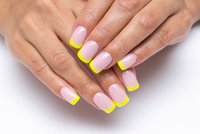 Yellow French Manicure, Sparkl...