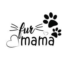 Fur Mama, Heart, Paw, Art, Vector Illustration