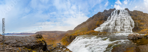 Fényképezés Westfjords of Iceland Dynjandi waterfall panorama of fall during sunny weather
