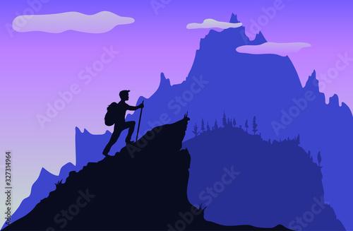 vector illustration of a alpinist climbing a mountain peak Wallpaper Mural