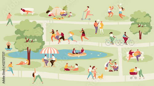 Fototapeta Large crowd of people in the park. Recreation, sport and outdoor activities vector illustration obraz