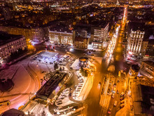 Aerial City Winter View With C...