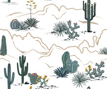 Desert Seamless Pattern With M...