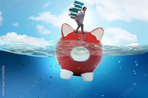 Fotografie, Obraz Student debt concept with piggybank and student