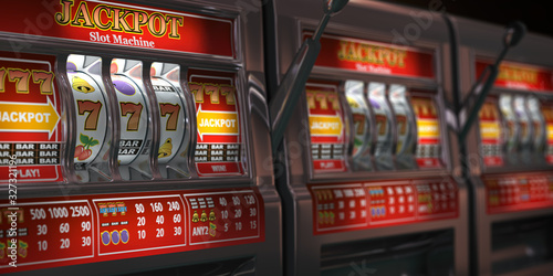 Cuadros en Lienzo Slot machines row in a casino