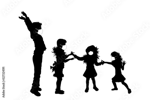 Vector silhouette of anonymous children with medical mask on white background. Symbol of healthy and sick. Danger of coronavirus.