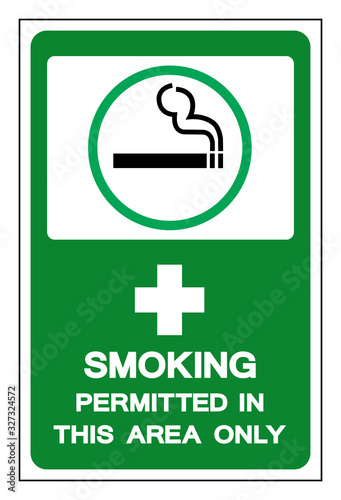 Smoking Permitted In This Area Only Symbol Sign, Vector Illustration, Isolate On White Background Label Wallpaper Mural