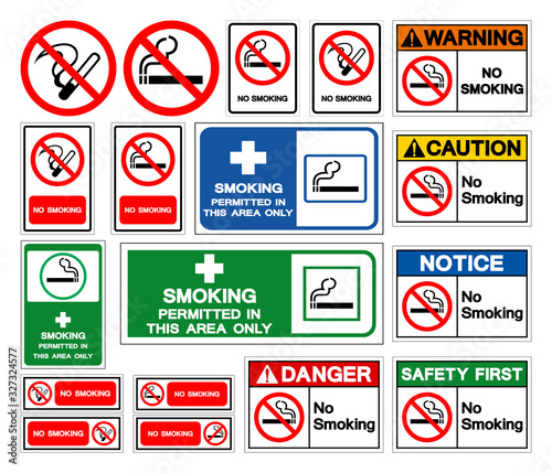 Set Of No Smoking Symbol Sign, Vector Illustration, Isolate On White Background Label Wallpaper Mural