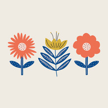Modern Folk Boho Single Isolated Flowers In Scandinavian Style. Floral Slovak Plant Cutout Collage Decor Elements. Swedish Folklore Drawing, Nordic Wildflower Concept. Vector EPS Clip Art