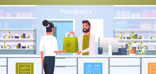 Male Doctor Pharmacist Giving Medical Cannabis Package To Female Client At Pharmacy Counter Modern Drugstore Interior Medicine Healthcare Concept Horizontal Portrait Vector Illustration