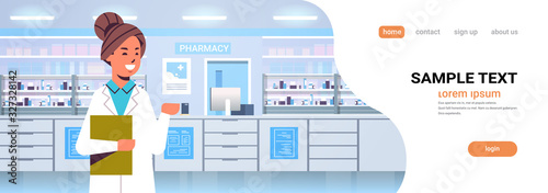 Papel de parede female doctor pharmacist with clipboard modern pharmacy drugstore interior medic