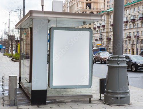 Photo Bus stop with advertising blank banner