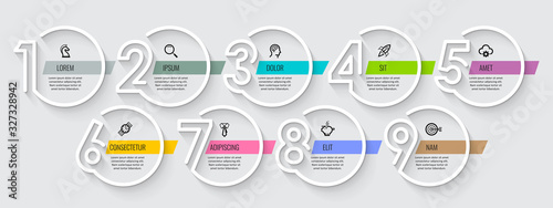 Fototapeta Vector Infographic design with icons and 9 options or steps. Infographics for business concept. Can be used for presentations banner, workflow layout, process diagram, flow chart, info graph obraz
