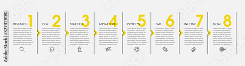 Fototapeta Vector Infographic design with icons and 8 options or steps. Infographics for business concept. Can be used for presentations banner, workflow layout, process diagram, flow chart, info graph obraz
