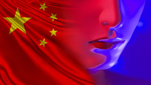 A Fragment Of The Robot's Face On The Background Of The Flag Of China. Robotics In The Republic Of China. The Creation Of Modern Robots In PRC. Advanced Technology From China.