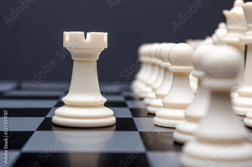 Chess pieces, rook on a chessboard, game Canvas Print