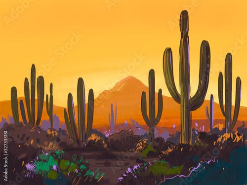 Color sketch of the desert of America with cacti. Arizona desert. Prairie landscape. Hand drawn illustration - 327335161