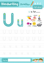 Letter U Uppercase And Lowercase Tracing Practice Worksheet A4