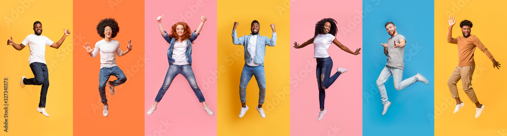Fototapeta Collage of cheerful jumping multinational people in air on color background, panorama